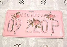 Shabby Chic license plate:  Paint your license plate to match your decor