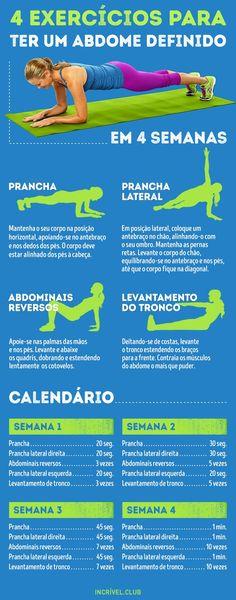 4 exercícios para obter um abdome definido em apenas 4 semanas