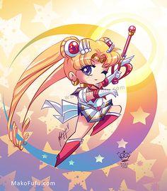 .: Chibi Super Sailor Moon :. by Mako-Fufu http://www.redbubble.com/people/makofufu/works/11318083-chibi-super-sailor-moon