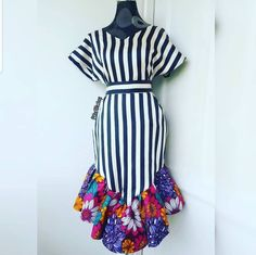 Ankara and crepe African Fashion Ankara, Latest African Fashion Dresses, African Print Fashion, Africa Fashion, Short African Dresses, African Print Dresses, African Attire, African Wear, Ankara Dress Styles