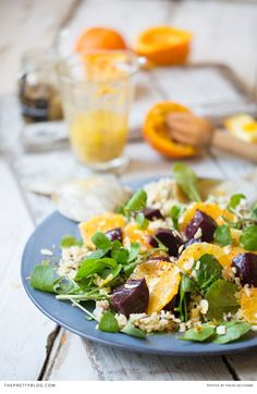 Beetroot and orange make a delicious salad for summer! See the recipe here http://www.theprettyblog.com/food-and-wine/orange-beetroot-salad-wild-rice/