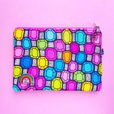 Gemstones -clutch with colorful diamond print