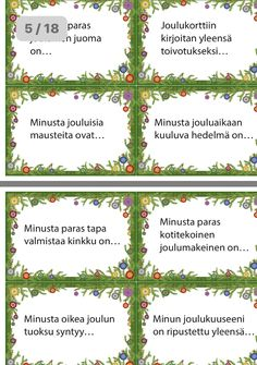 Christmas Games, Christmas Diy, Finnish Language, Teaching English, Classroom, Journal, School, Class Room, Homemade Christmas