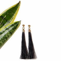 "The ""Pony Tail Earrings II"" in Black. Also available in Fuchsia, Cream and Turquoise. Online now at www.ParmeMarin.com #ParmeMarin #Ethnic #Jewelry"