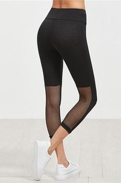 Plain black leggings with mesh paneled back at the calf. Very comfy, very light with a wide waist band. Mesh Leggings, Breathe, Pants, Collection, Color, Fashion, Trouser Pants, Moda, Fashion Styles