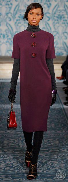 Look 29, Jasmine: Jewel-button wool crepe dress, Cotton jersey turtleneck