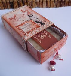 Altered match box, pretty soap package