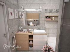 Návrh interiéru bytu Romantika v akcii, ďalší pohľad na kúpeľňu so zatvorenou pračkou Double Vanity, Bathroom, Nostalgia, Washroom, Full Bath, Bath, Bathrooms, Double Sink Vanity