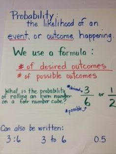 Probability anchor chart to teach students about how to write a probability event as a fraction, ratio, decimal, and percent.  Excellent explanation and organization!
