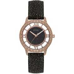 Guess Women's Black Glitter Leather Strap Watch 38mm ($105) ❤ liked on Polyvore featuring jewelry, watches, black, stainless steel jewelry, stainless steel watches, guess jewelry, leather-strap watches and glitter jewelry