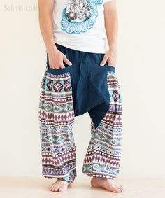 Aztec Mexican Indian Pattern Aladdin Unisex Harem Pants Low Crotch Big Pockets Bloomers (2 colors)