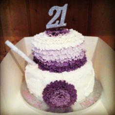 Girls birthday cake! #ombre #ruffles