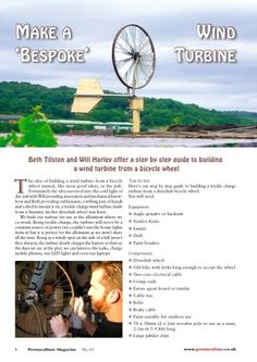 How to make a wind turbine from a bike wheel (green energy power source)                                                                                                                                                                                 More
