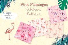 Flamingo seamless vector patterns by Alyona Vorotnikova on @creativemarket