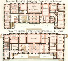 Cahier 3, Plate 10. Plan du Premier Etage du Chateau de Roissy. Les Jardins Anglo-Chinois | Georges Louis Le Rouge