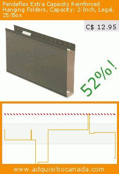 Pendaflex Extra Capacity Reinforced Hanging Folders, Capacity: 2-Inch, Legal, 25/Box (Office Product). Drop 52%! Current price C$ 12.95, the previous price was C$ 26.99. https://www.adquisitiocanada.com/esselte-canada/pendaflex-extra-capacity-0
