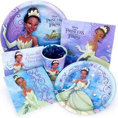 Disney Princess Party supplies, Princess and the Frog party tableware