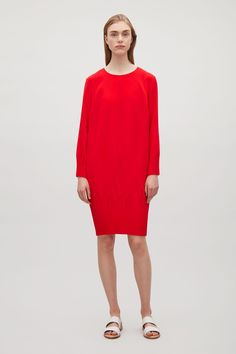 COS image 7 of Dress with pleated hems in Red
