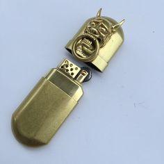 Brass Cigarette Lighter Handmade 3D Prajna Horns Retro Kerosene Oil Lighter #C