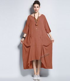 Anysize coconut shell buttons front two pockets linen dress plus size dress plus size clothing spring autumn dress clothing Y133