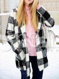 Black White Long Sleeve Lapel Plaid Coat 36.99