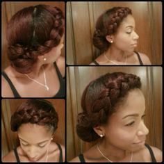 Goddess braid into a side bun Goddess Hairstyles, Braided Hairstyles, Braided Updo, Wedding Hairstyles, Natural Hairstyles, Natural Hair Updo, Natural Hair Journey, Braids With Curls, Braids Wig