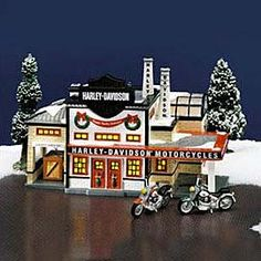 """Department 56: Products - """"Harley-Davidson® Manufacturing"""" - View Lighted Buildings"""