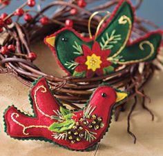 Bird felt ornaments