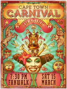 We worked with Cape Town Carnival to illustrate a poster for their 2014 event themed 'Imagine'. The Carnival is an annual celebration of African culture & heritage held in the Mother City. We also created illustrations for their flyers, masks, apparel and…