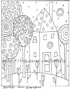 Rug Hooking Paper Pattern Blue Tulips Folk Art Karla G Folk Embroidery, Embroidery Patterns, Paper Embroidery, Flower Embroidery, Colouring Pages, Coloring Books, Stencil, Bordado Popular, Karla Gerard