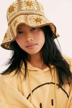 Summer Of Love Straw Bucket Hat by Free People, Tan, One Size Crochet Summer Hats, Knit Crochet, Crochet Hats, Outfits With Hats, Emo Outfits, Summer Of Love, Crochet Designs, Crochet Clothes, Knitted Hats