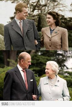 I really do admire Queen Elizabeth II and her husband Prince Phillip.how Prince Phillip has been supporting the queen for the past 60 years.not to mention i think they make a good looking couple too. Long live the Queen and Prince Phillip. Old Couples, Couples In Love, Elderly Couples, Married Couples, Famous Couples, Old Couple In Love, Sweet Couple, Save The Queen, Glamour