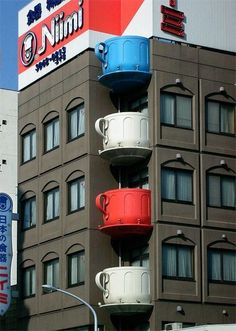 Japan building with cups as balconies