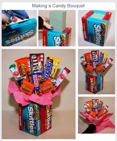 This guide is about making a candy bouquet. A fun gift to create for a special candy lover. A homemade candy bouquet makes a great gift for Valentine's Day or Mother's Day. These tutorials show you how to make beautiful candy bouquets. Food Gifts, Craft Gifts, Cute Gifts, Best Gifts, Cute Gift Ideas, Sweet 16 Gifts, Sweet Treats, Valentine Day Gifts, Christmas Gifts