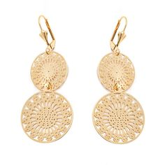 Peermont Gold Double Snowflake Drop Earrings ($18) ❤ liked on Polyvore featuring jewelry, earrings, gold, snowflake earrings, 18k earrings, 18k yellow gold earrings, 18k gold jewelry and gold snowflake earrings