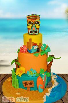Tiki cake. Hawaiian cake https://www.facebook.com/GloriaCakes www.gloriacakes.com #tiki #hawaiian #surf #HawaiianCake #TikiCake #Cake #Luau #tropicalcake #Luaucake #hawaiicake