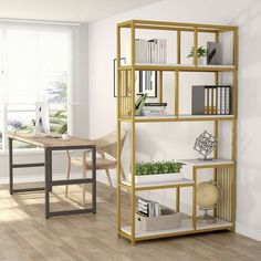 Tribesigns 7 Open Shelf Bookcases Etagere Bookcase With Gold Sturdy Metal Frame Modern Bookshelf Elegant Storage Display Shelves For Home Furniture Gold Bookshelf, Modern Bookshelf, Minimalist Bookshelves, Regal Display, Contemporary Bookcase, Contemporary Design, Etagere Bookcase, Modern Rustic Interiors, Yurts