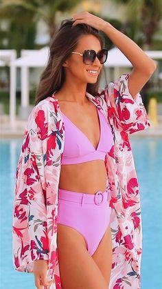 Trendy Swimwear, Plus Size Swimwear, Swimwear Fashion, Purple Swimsuit, Swimsuit Tops, Beach Kimono, Southern Women, Maldives, Sexy Bikini