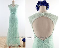 Mint V Neck Lace Prom Dress Long Evening Dresses With by KeFormal