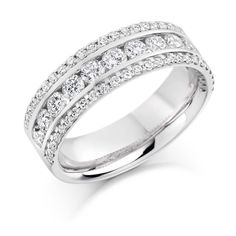 This wide micro-claw and channel set diamond half eternity ring is a sight to behold. With a triple band design, it is beautiful as a right hand ring or a combination engagement and wedding ring. Wedding Ring For Her, Wedding Bands, Gold Diamond Rings, Diamond Cuts, Gold Rings, Half Eternity Ring, Right Hand Rings, Wide Band Rings, Vintage Diamond
