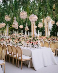 "Wedding Chicks® on Instagram: ""This is a scroll stopper if we've seen one 😍 The mix of taper candles with chandeliers hanging from greenery really sets a high end and…"" Long Table Wedding, Wedding Reception Design, Wedding Spot, Wedding Table Settings, Wedding Ideas, Reception Ideas, Dream Wedding, Exotic Wedding, Sage Wedding"