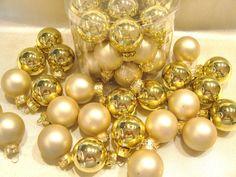 Christbaumkugeln, Set 24 Stück Gold, 2,5cm,Glas