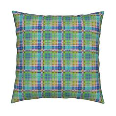 Catalan Throw Pillow featuring GRUNGE PLAID 1 Blue Green Yellow by paysmage…