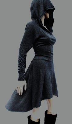 Dress Hoodies dress Grey Dress Casual Day by MIRIMIRIFASHION -I love this in the dark gray. So pretty.