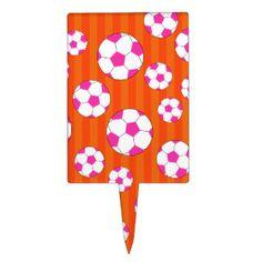 Pink soccer ball orange stripes cake pick