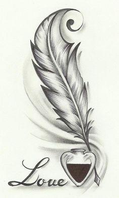 Easy love drawings in pencil easy love drawings easy love drawings for your boyfriend love Feather Drawing, Feather Tattoo Design, Feather Tattoos, Bird Tattoos, Drawing Drawing, Art Drawings Sketches, Tattoo Sketches, Tattoo Drawings, Pencil Drawings