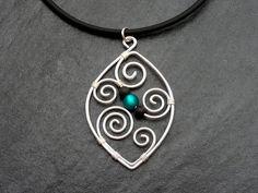 """The item """"Necklace - Aotearoa - with LAVA beads & customizable POLARIS bead - New Zealand Koru wire wrapped"""" by ArohaJewelz"""