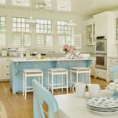 Love the soft color palette and the shutters in this Cottage Style Kitchen | Home Channel TV ᘡղbᘠ