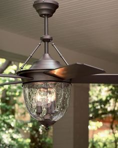 """Ceiling fan designed to withstand conditions in covered outdoor areas. Made of metal and plastic with a bronze finish and glass globe. 52""""Dia. blade sweep. 26.5""""T. Imported. Boxed weight, approximatel"""