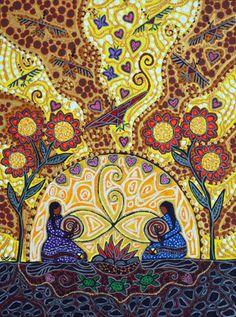 Two Drums Become One by Leah Marie Dorion Native Art, Native American Art, Drums Art, Textile Fiber Art, Art Programs, Indigenous Art, Visionary Art, Light Art, Creative Inspiration